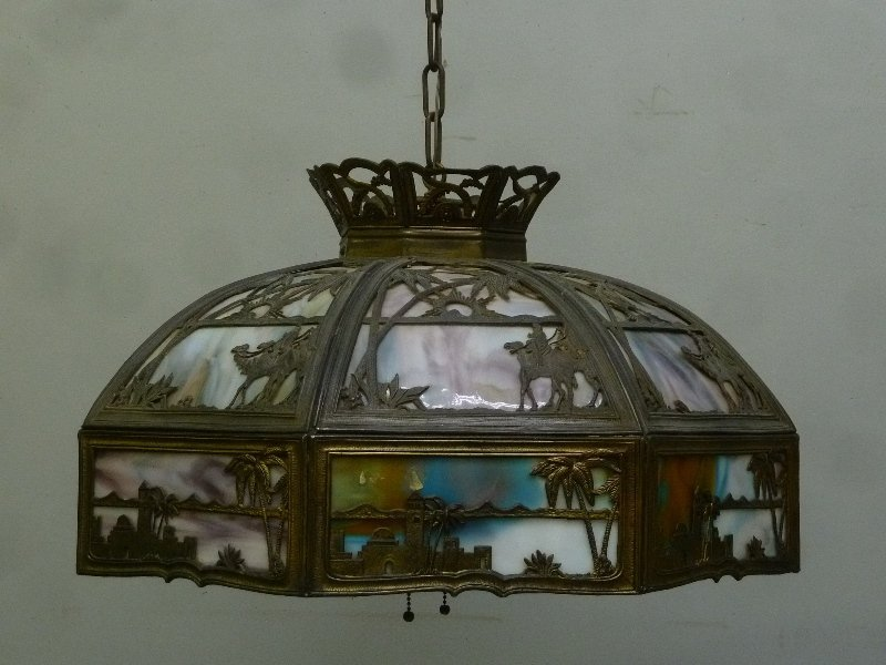 Circa 1920's Large 16 Panel Slag Glass Chandelier with - 2