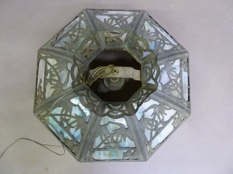 Circa 1920's Large 16 Panel Slag Glass Chandelier with - 5