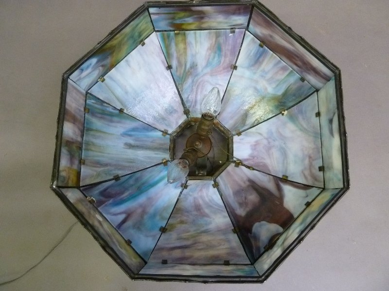 Circa 1920's Large 16 Panel Slag Glass Chandelier with - 6