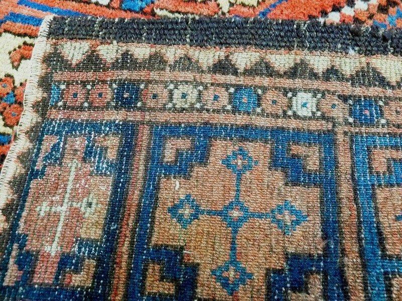 Antique 1920's Afgan Hand Tied Wine, blue & beige - 7