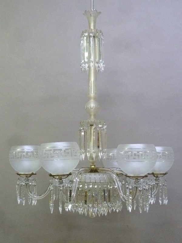Late 19th/Early 20th Century Cut Glass 6 Arm Chandelier