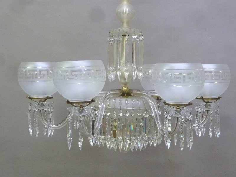 Late 19th/Early 20th Century Cut Glass 6 Arm Chandelier - 2