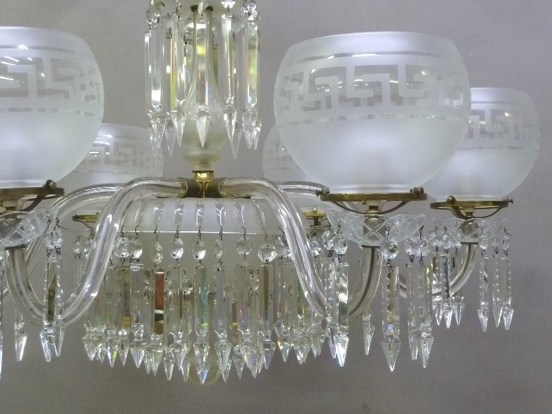 Late 19th/Early 20th Century Cut Glass 6 Arm Chandelier - 4