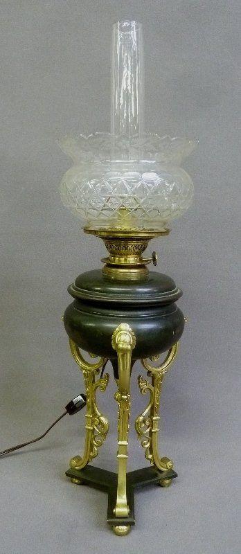 19th Century Brass & Metal Oil Lamp w/Cut Glass Shade -