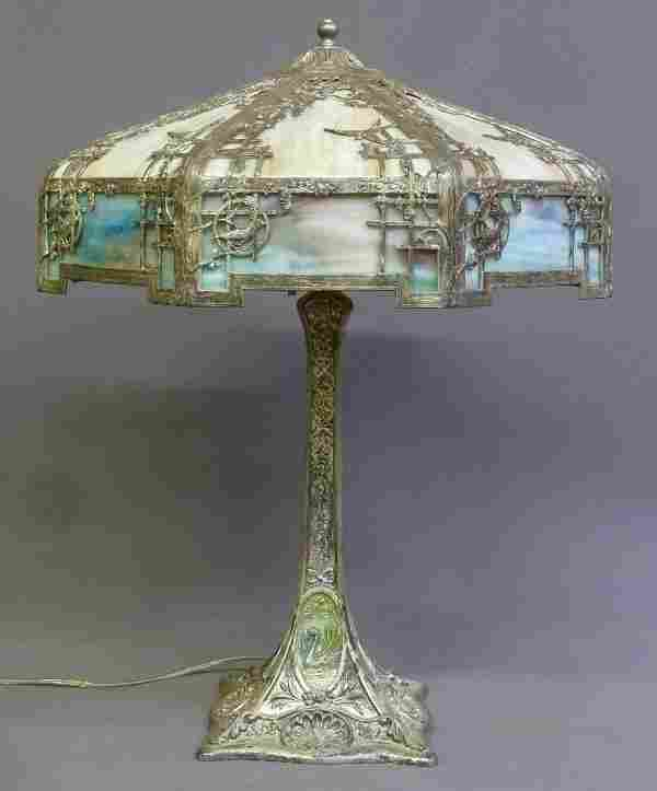 Circa 1920 Rare Bird & Swan Base Empire Lamp Co. Slag