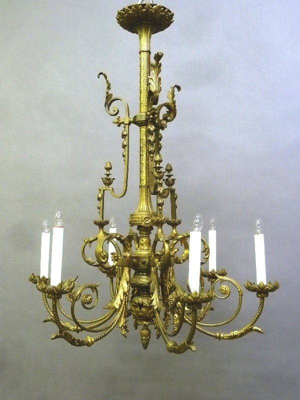 Circa 1900 6 Arm Cast Bronze French Chandlier with