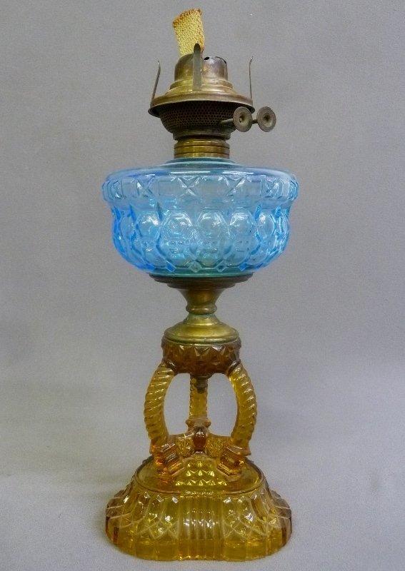 CATHEDRAL KEROSENE COMPOSITE STAND LAMP, blue font,