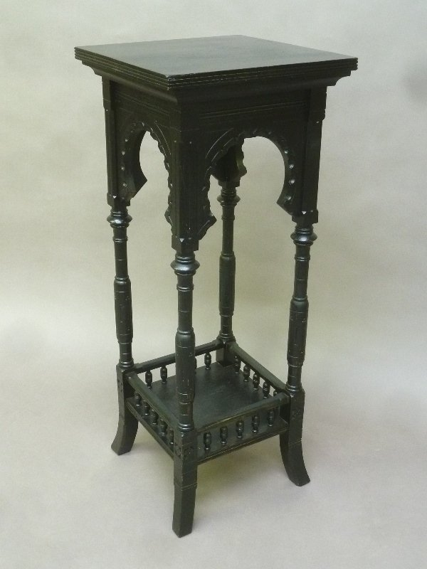 American Circa 1880 Black Laquer Asthetic Pedestal -