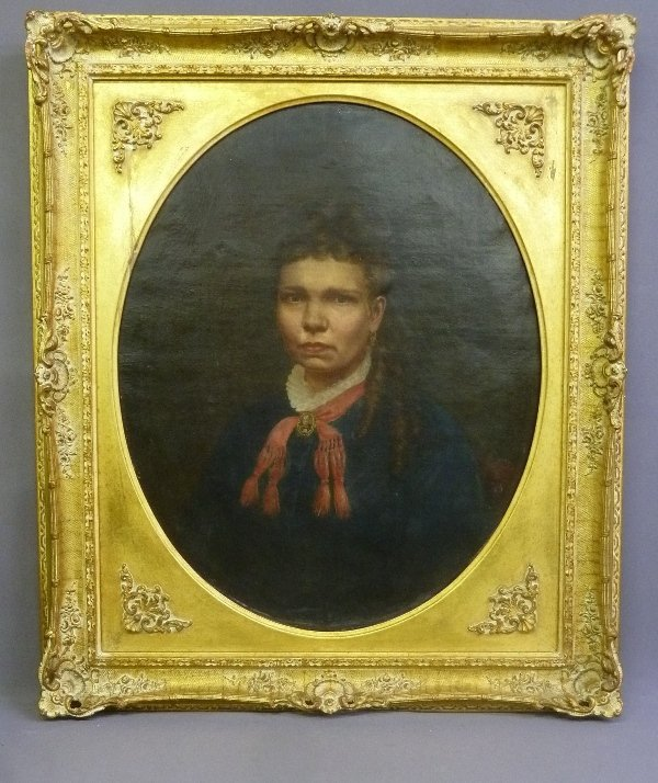 Dated 1875 Oval Oil on Canvas of a Southern Croele