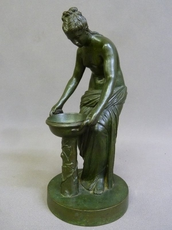 Circa 1900 Patinated Bronze Figure of Woman with Water.