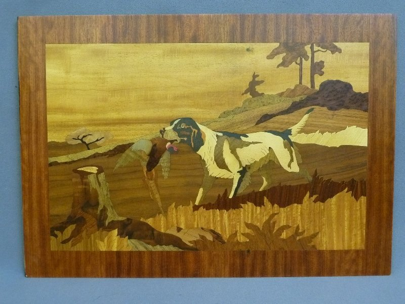 Wonderful Inlaid Panel with Dog and Game - has 102