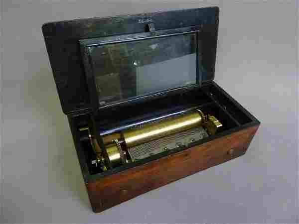 19th Century Swiss Bird Inlay Rosewood Music Box.