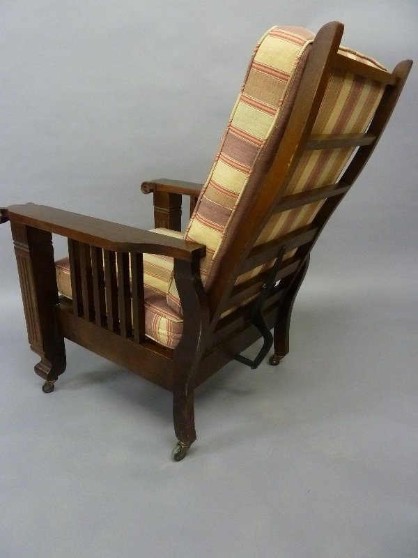 Dated 1900 American Adjusting Morris Chair with New - 2