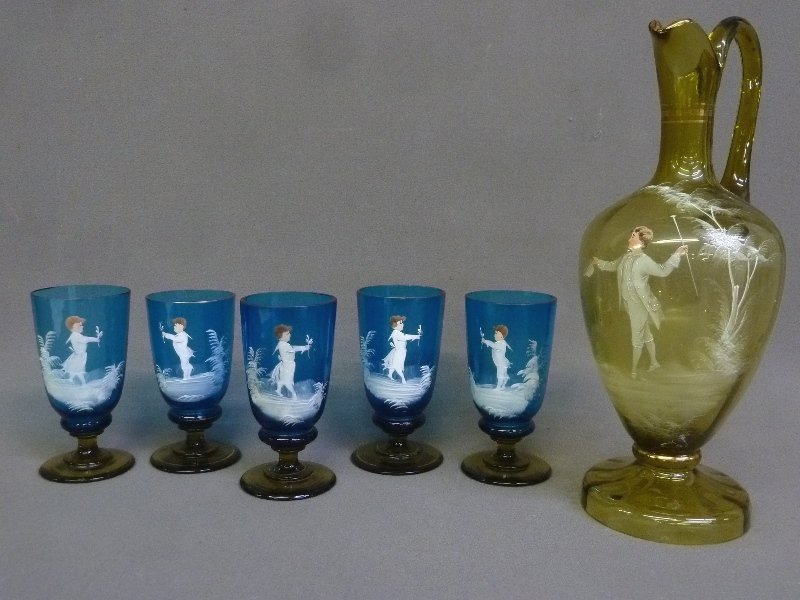 Circa 1900 6 pc Blue & Amber Mary Gregory Beverage Set.