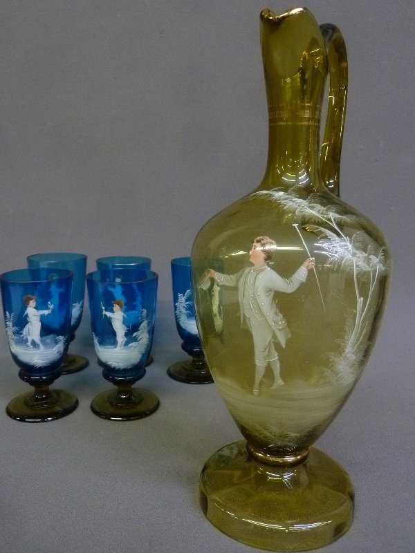 Circa 1900 6 pc Blue & Amber Mary Gregory Beverage Set. - 2