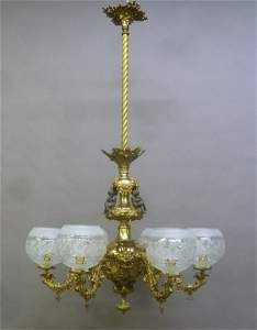Rare 6 Arm 1850's Rococo Gas Chandelier with Putti