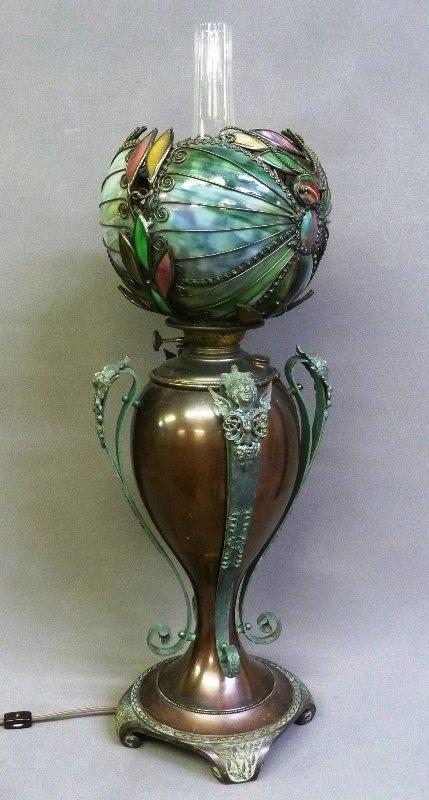 Rare Circa 1890's Oil Lamp with Fantastic Slag Glass