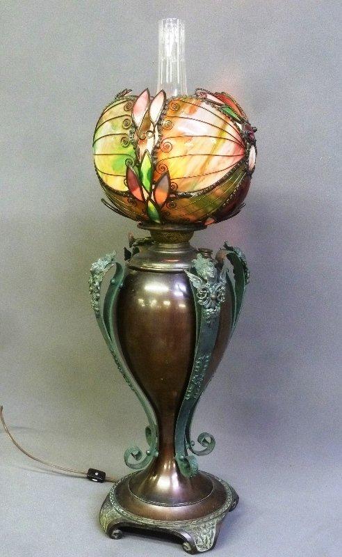 Rare Circa 1890's Oil Lamp with Fantastic Slag Glass - 3
