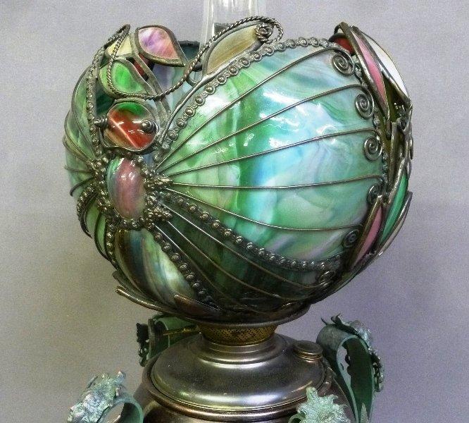 Rare Circa 1890's Oil Lamp with Fantastic Slag Glass - 5