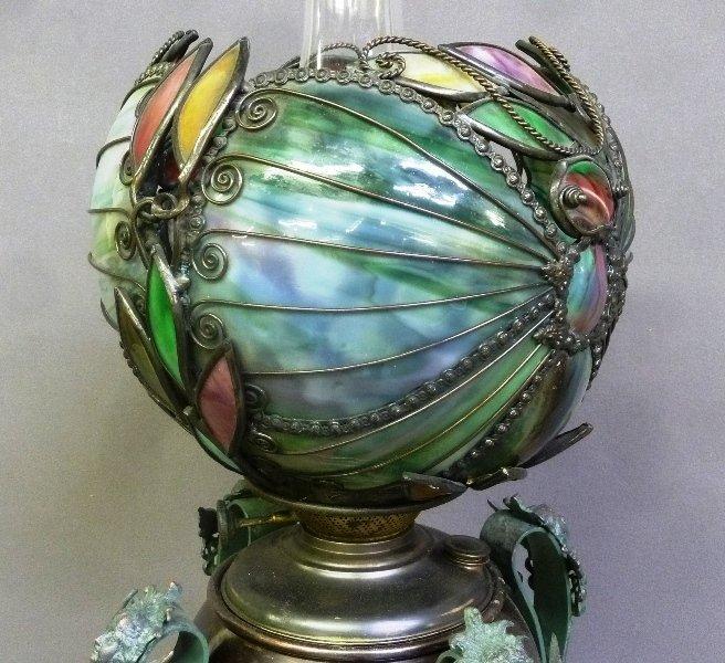 Rare Circa 1890's Oil Lamp with Fantastic Slag Glass - 6