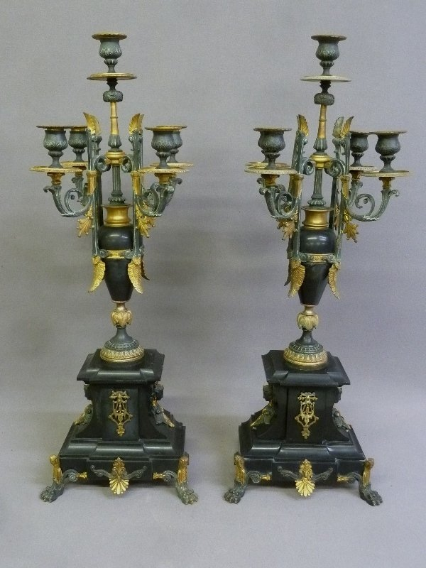 19th Century French Gilt Bronze & Marble Candleholders