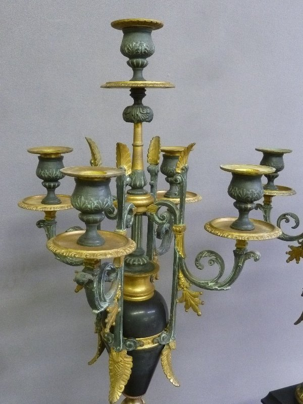 19th Century French Gilt Bronze & Marble Candleholders - 4