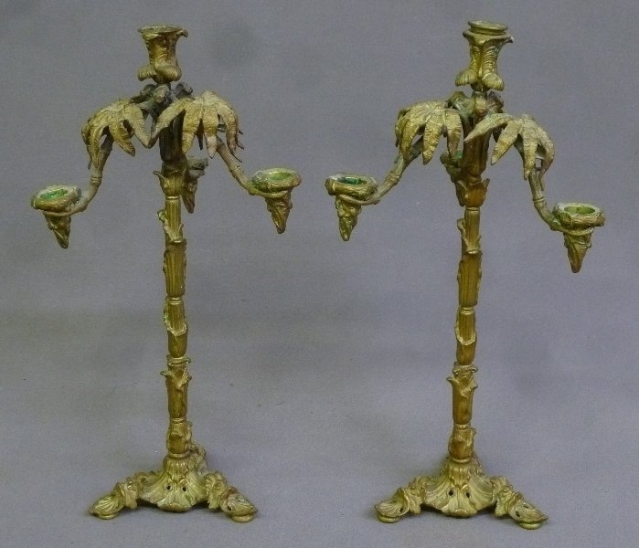 C 1900 Cast Bronze Candleabrum w/ Unique Leafage Décor