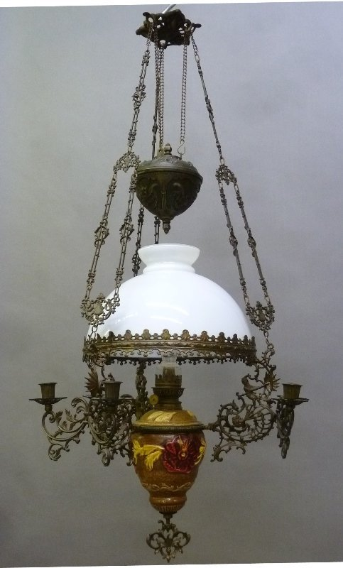 Large 1890 Solid Bronze Oil Chandelier with Majolica