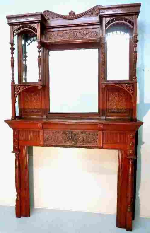 Circa 1880's Solid Cherry Fireplace Mantel with Carved