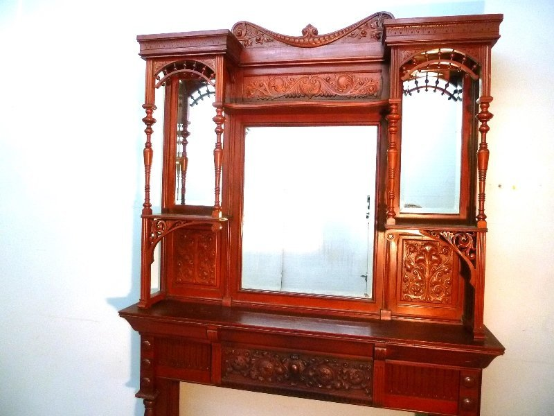 Circa 1880's Solid Cherry Fireplace Mantel with Carved - 3