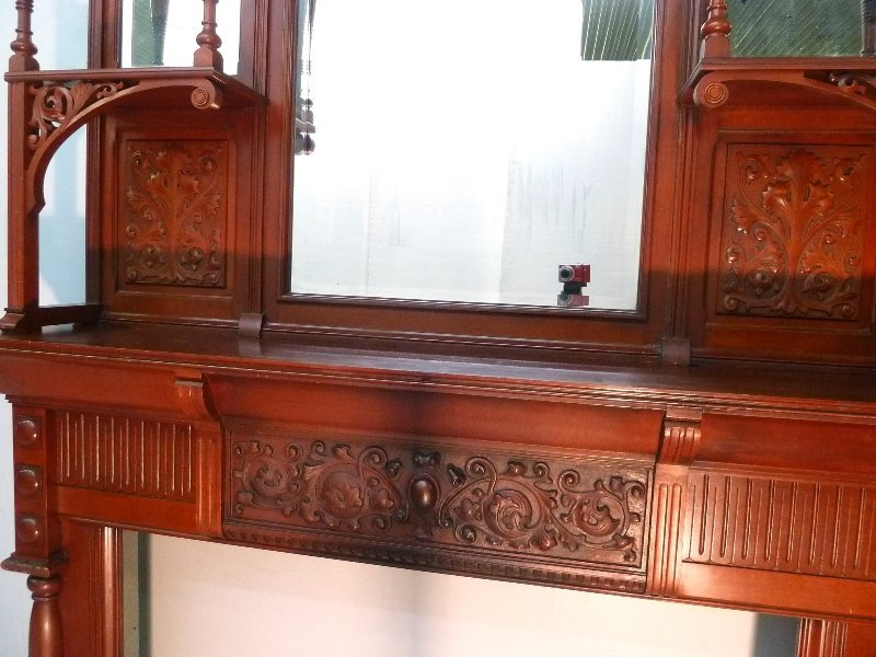 Circa 1880's Solid Cherry Fireplace Mantel with Carved - 4