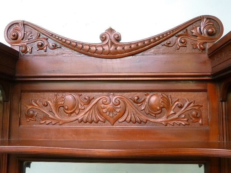 Circa 1880's Solid Cherry Fireplace Mantel with Carved - 5