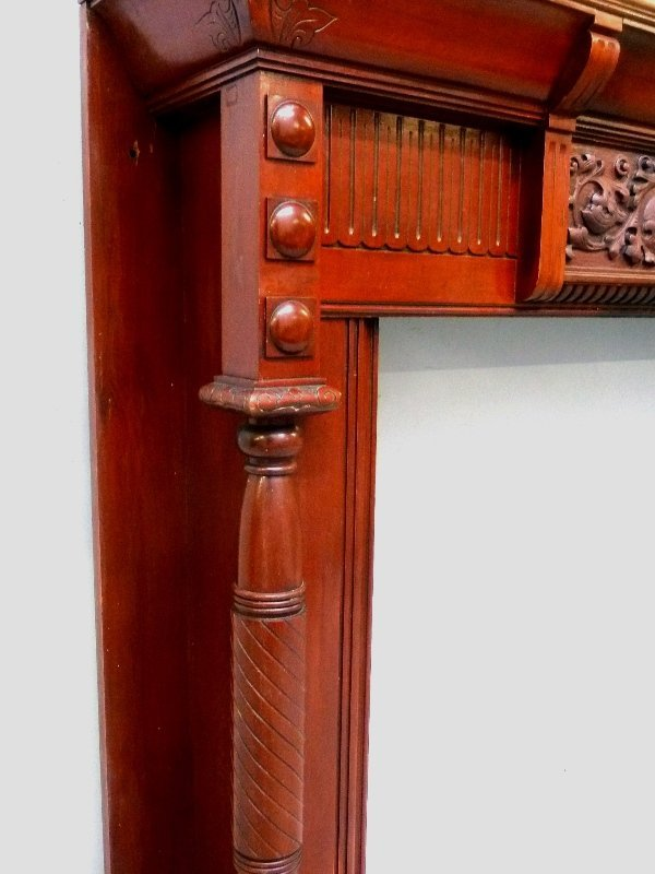 Circa 1880's Solid Cherry Fireplace Mantel with Carved - 6