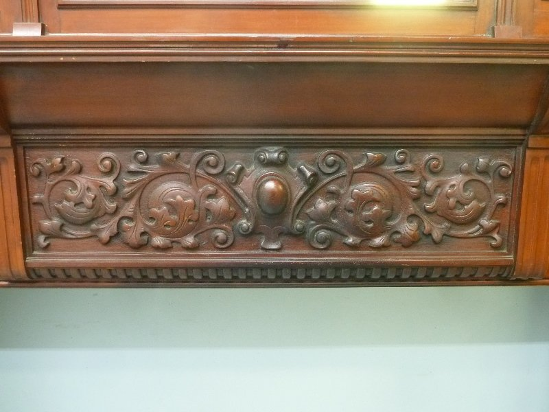 Circa 1880's Solid Cherry Fireplace Mantel with Carved - 7