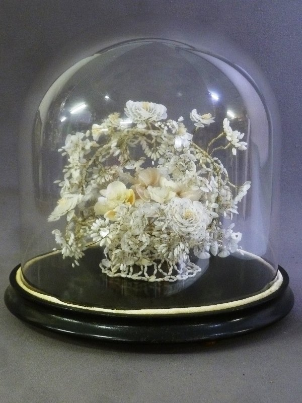 19th Century Glass Dome w/Hand Made Shell Floral