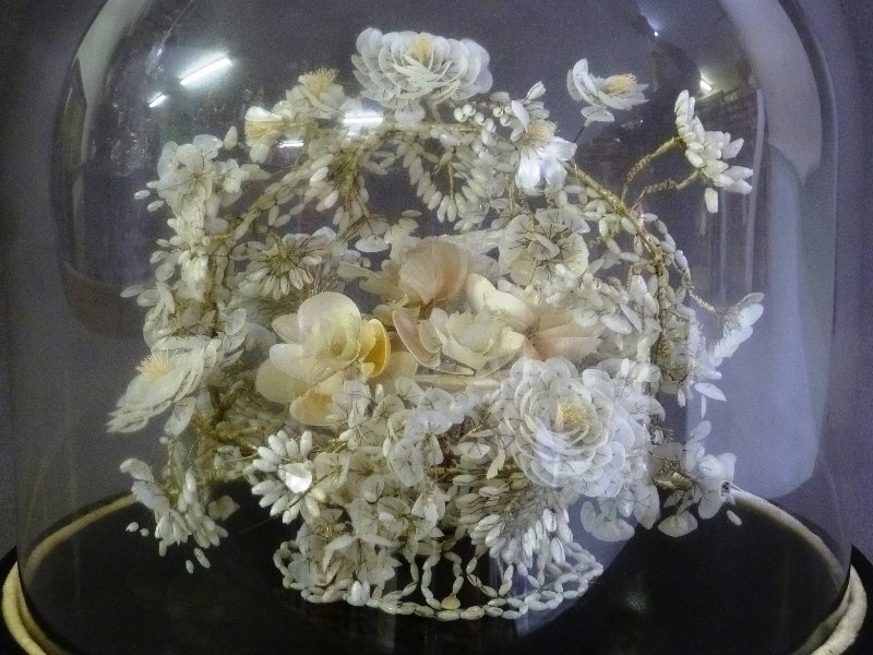 19th Century Glass Dome w/Hand Made Shell Floral - 3