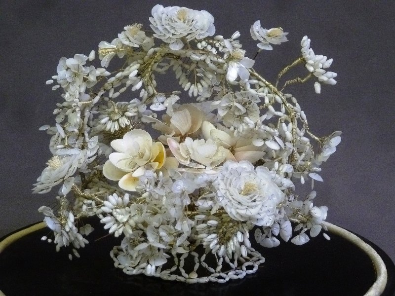 19th Century Glass Dome w/Hand Made Shell Floral - 4