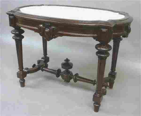 Circa 1875 American Marble Top Renaissance Revival Burl