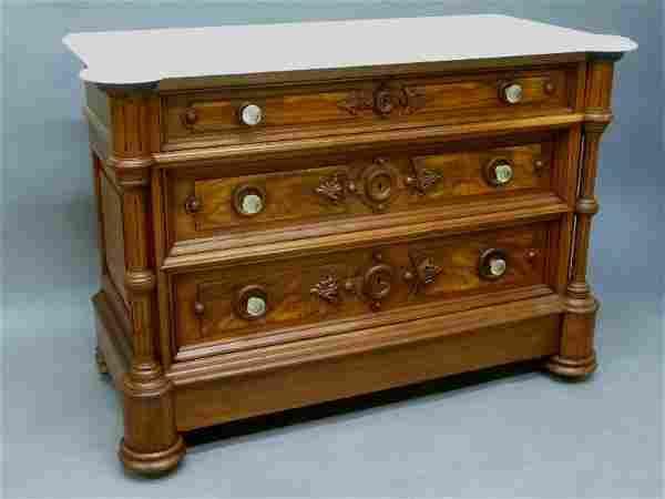 Circa 1870's Great Burl Walnut Marble Top Dresser with