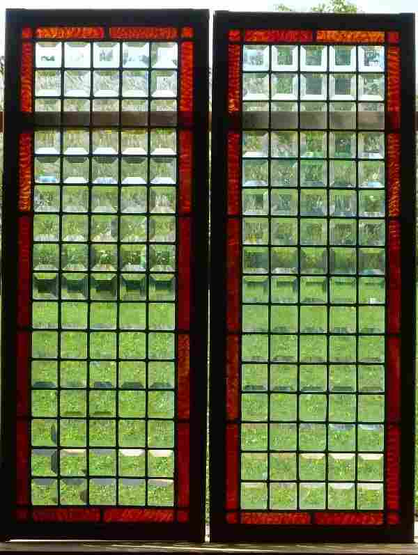 Set of 2 Antqiue Beveled Glass Windows with rust