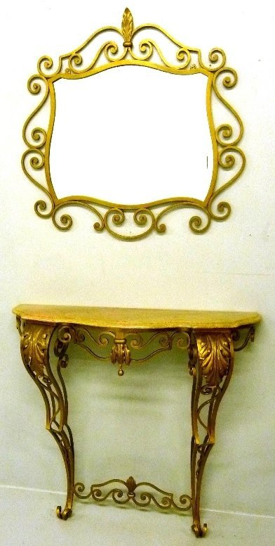 Circa 1920's Wrought Iron Marble Top Console with