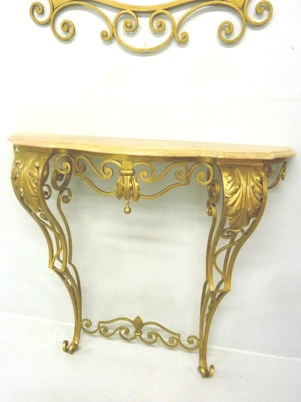 Circa 1920's Wrought Iron Marble Top Console with - 3