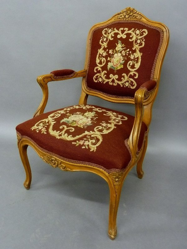 Circa 1920's Needlepoint and Pettipoint Arm Chair with