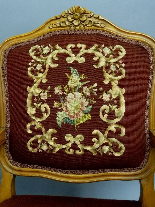 Circa 1920's Needlepoint and Pettipoint Arm Chair with - 2