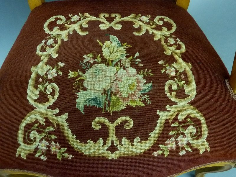 Circa 1920's Needlepoint and Pettipoint Arm Chair with - 3