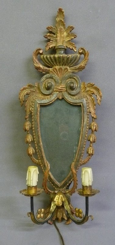Carved Wood Paint Decorated Louis XV Mirror wall Sconce