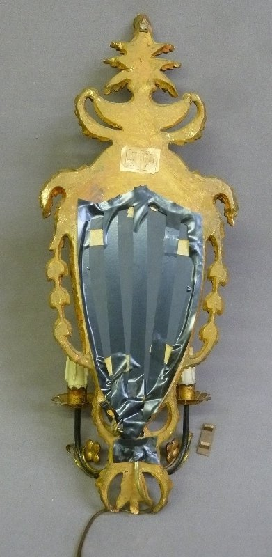 Carved Wood Paint Decorated Louis XV Mirror wall Sconce - 2