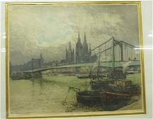 "Signed Luigi Kasimir Color Etching(1881-1962) 24"" x 29"