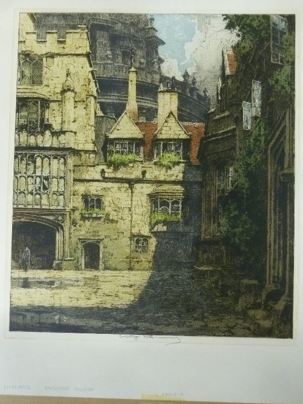 Signed Luigi Kasimir  Color Etching (1881-1962) marked - 2