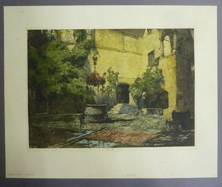 Signed Luigi Kasimir Color Etching (1881-1962) marked